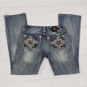 Miss Me Jeans Size 27 Crystal Flower Bling Bootcut